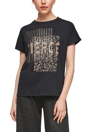 T-shirt met printopdruk en pailletten zwart/goud