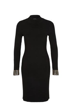 jurk met sierstenen zwart