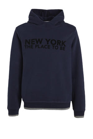 hoodie met tekst donkerblauw/zwart