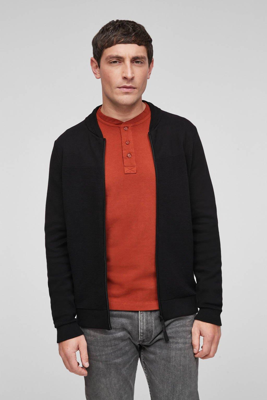 s.Oliver vest met textuur zwart, Zwart