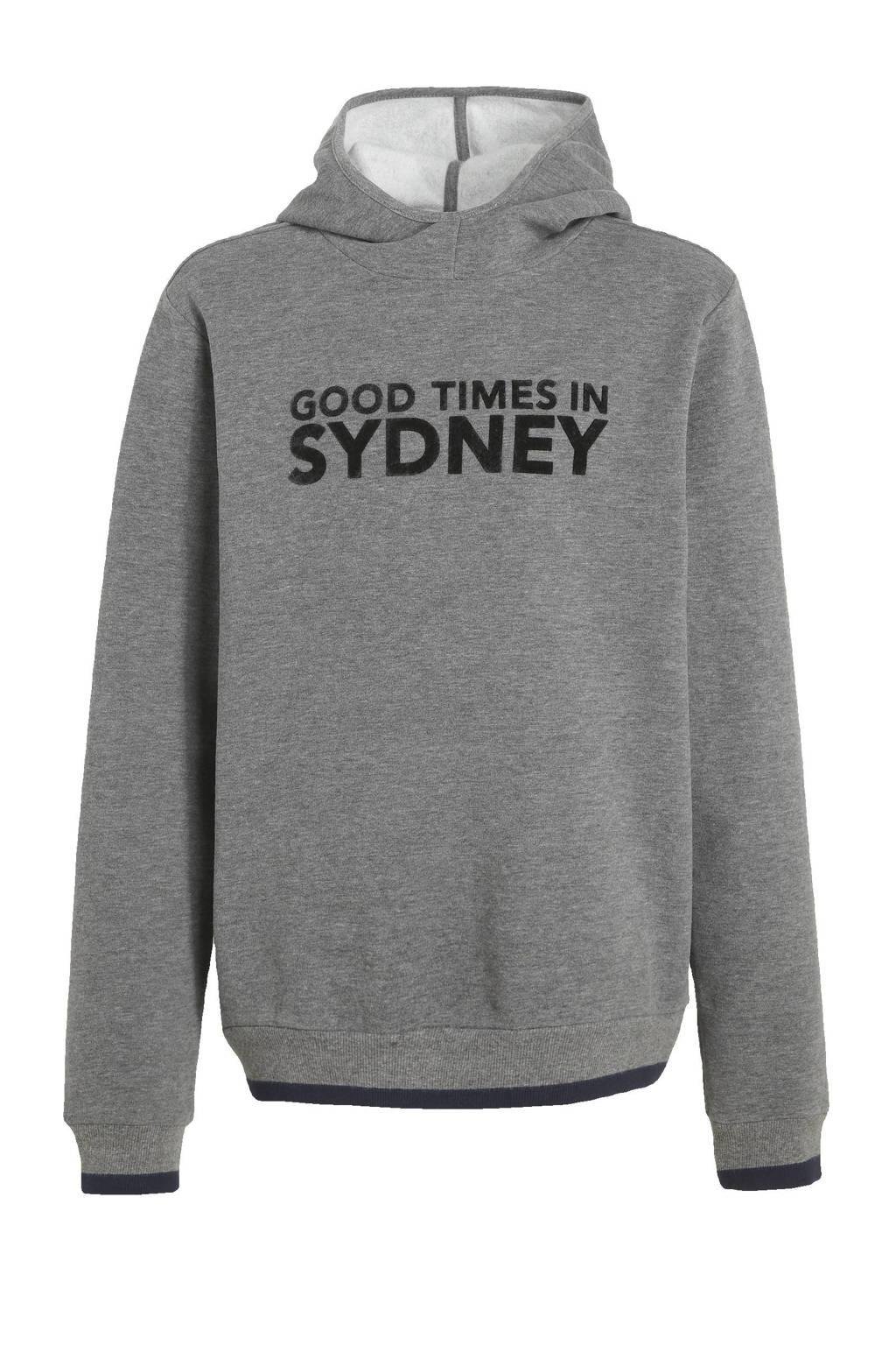 s.Oliver hoodie met tekst grijs melange/zwart, Grijs melange/zwart