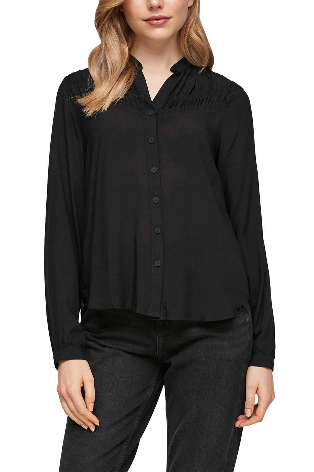 Q/S designed by blouse met ruches zwart, Zwart