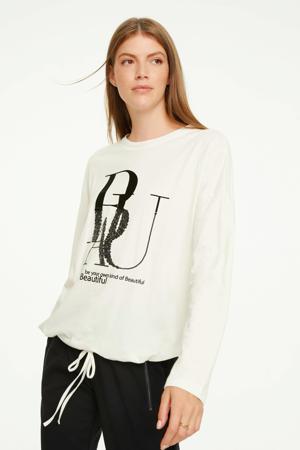sweater met pailletten ecru/zwart