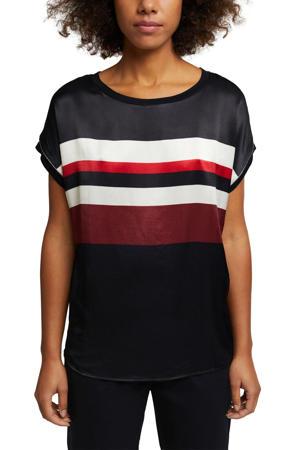 gestreept satijnen T-shirt donkerblauw/rood/wit