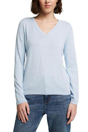 gemêleerde fijngebreide trui lichtblauw