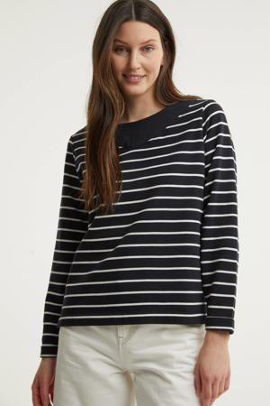 gestreepte trui met biologisch katoen donkerblauw/wit