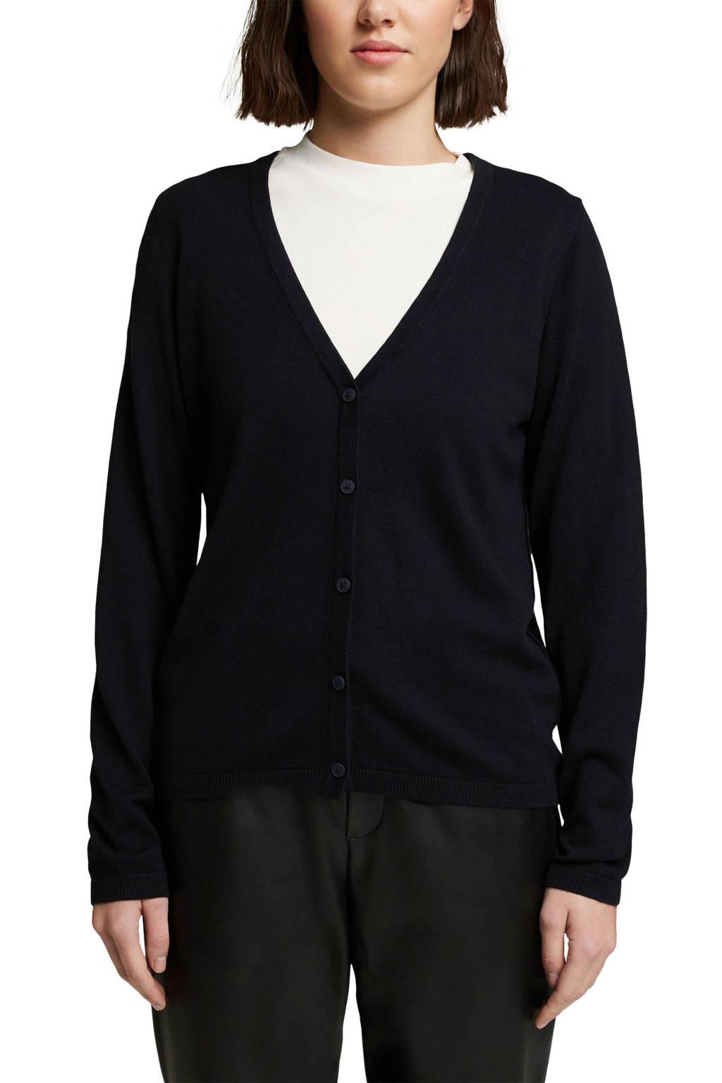 edc Women fijngebreid vest zwart, Zwart