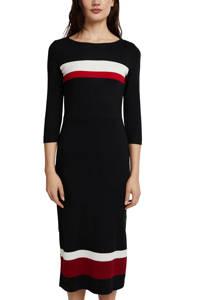 edc Women fijngebreide jurk zwart/wit/rood, Zwart/wit/rood
