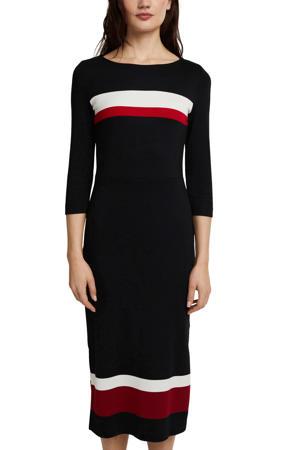 fijngebreide jurk zwart/wit/rood