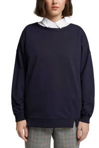 edc Women sweater van biologisch katoen donkerblauw, Donkerblauw