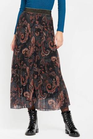 semi-transparante rok J-Cachemire met paisleyprint en glitters zwart/roodbruin