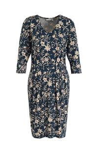 Fransa jurk met all over print en plooien donkerblauw/ecru, Donkerblauw/ecru