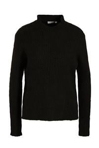 Fransa ribgebreide trui zwart, Zwart