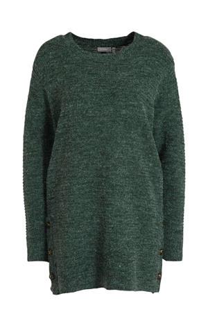 gemêleerde fijngebreide trui Eretta groen melange