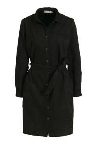 Fransa corduroy blousejurk met ceintuur zwart, Zwart