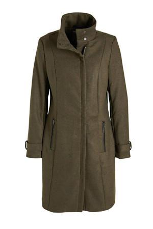 coat tussen Wooly olijfgroen