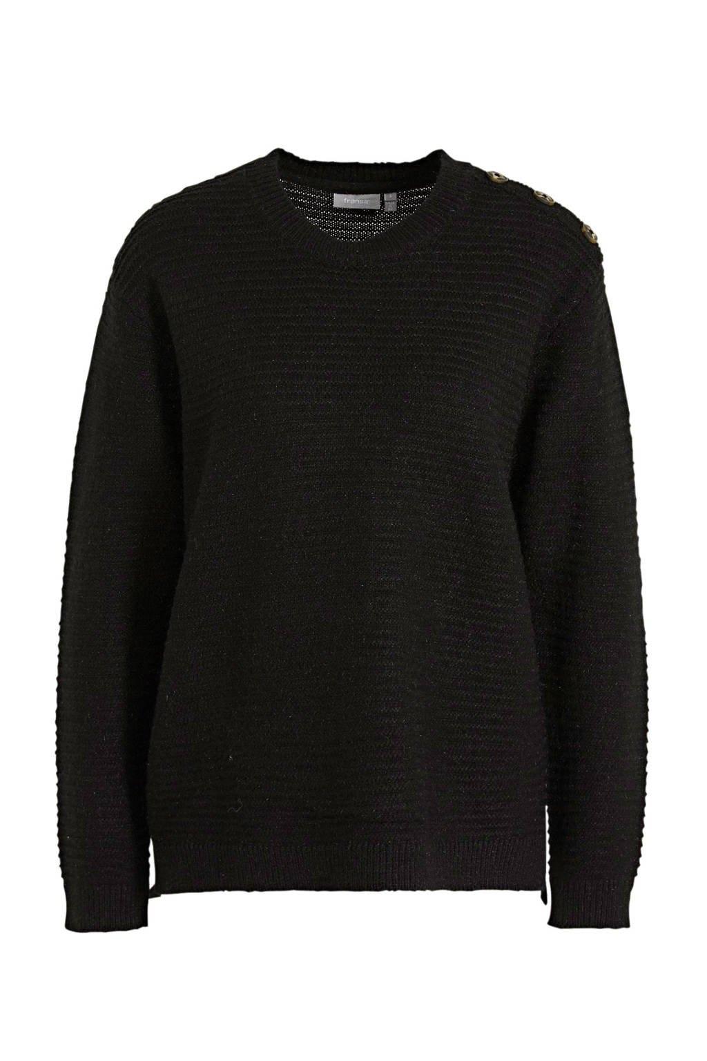 Fransa ribgebreide trui Eretta met glitters zwart, Zwart
