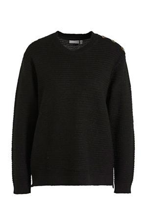 ribgebreide trui Eretta met glitters zwart