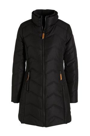 gewatteerde jas met slangenprint zwart