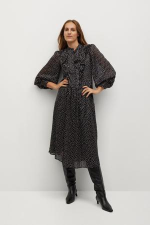 semi-transparante jurk met stippen en ruches zwart
