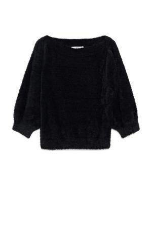 gebreide imitatiebont trui zwart