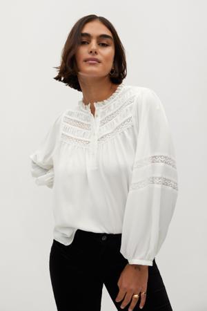 geweven blouse met kant gebroken wit