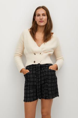 geruite tweed high waist straight fit short zwart