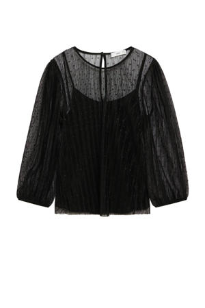 semi-transparante top met stippen zwart