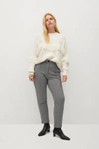 Violeta by Mango regular fit broek met pied-de-poule zwart/ wit