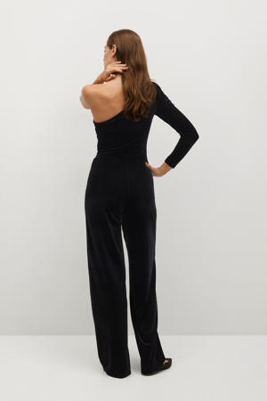fluwelen off shoulder jumpsuit zwart