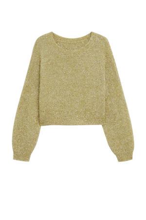 gebreide trui met glitters goudkleur