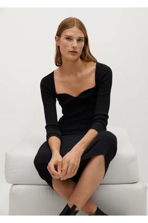 ribgebreide maxi jurk zwart