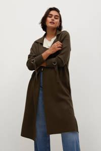 Violeta by Mango fijngebreid vest met ceintuur kaki, Kaki
