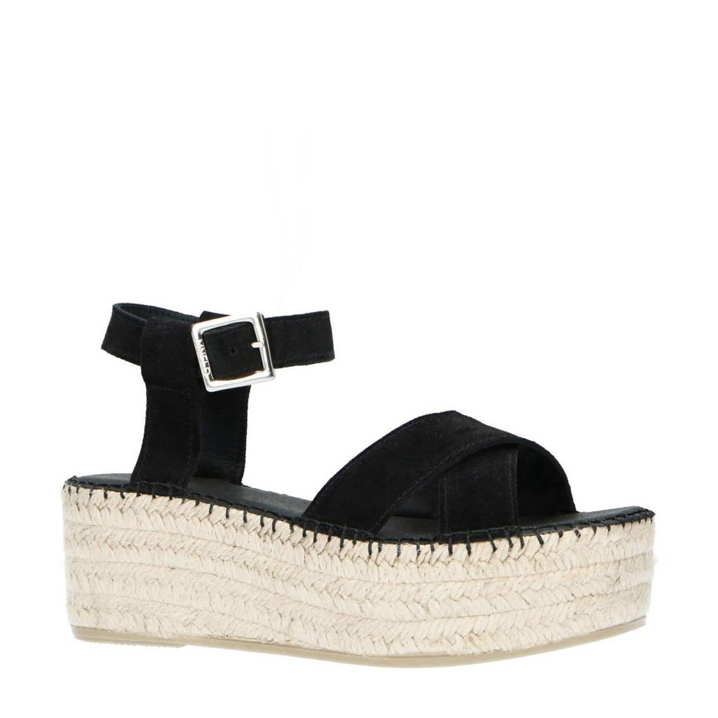 Manfield   suède plateau sandalen zwart, Zwart