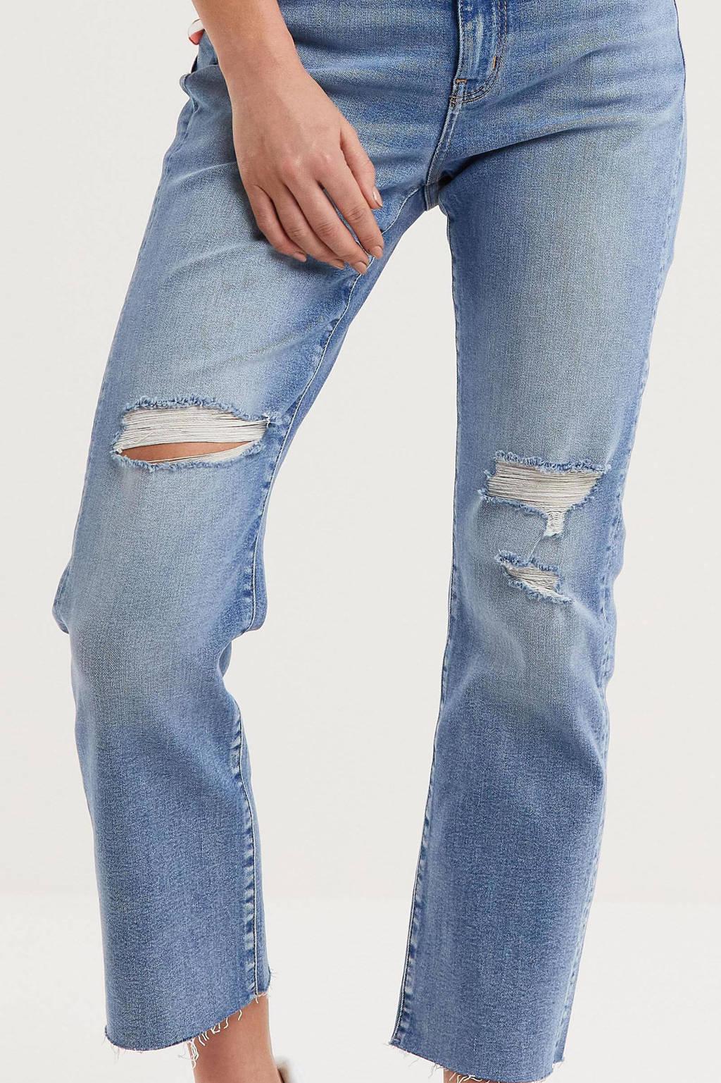 anytime high waist straight fit jeans met slijtage blauw, Blauw