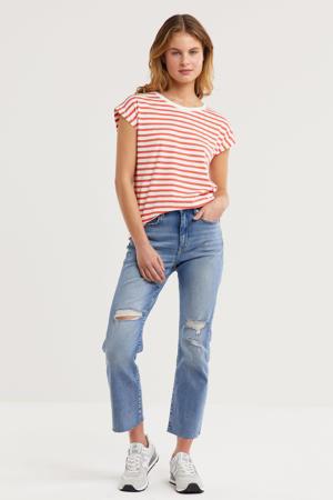 high waist straight fit jeans met slijtage blauw