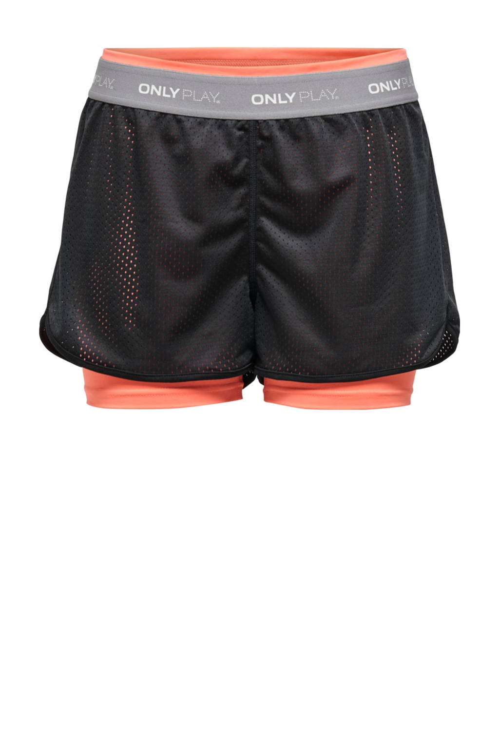ONLY PLAY sportshort Malia zwart/neon oranje, Zwart/neon oranje