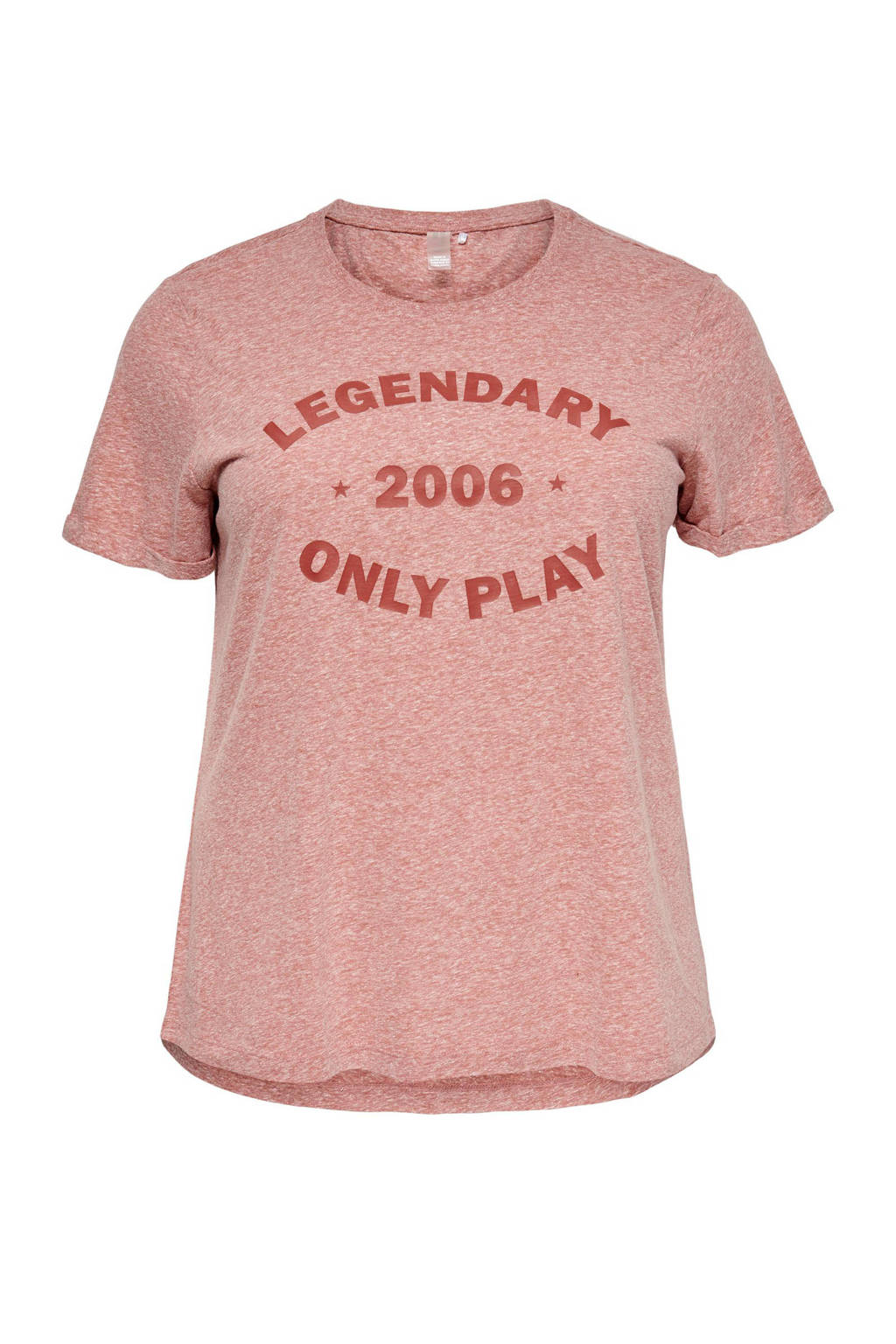 Only Play Curvy sport T-shirt Josefa roze, Rood melange