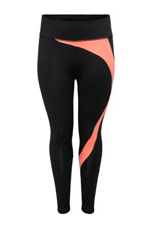 Plus Size sportlegging Malia zwart/neon oranje