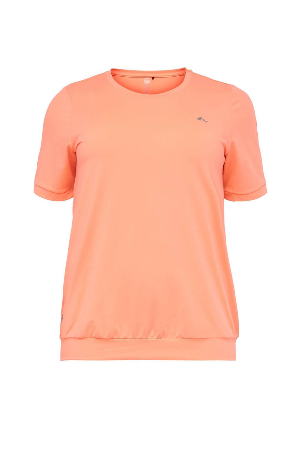 ONLY PLAY Plus Size sport T-shirt Clarise oranje, Oranje