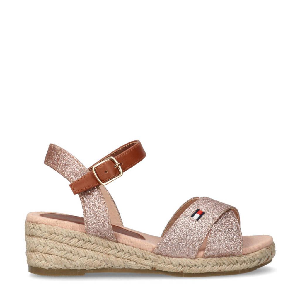 Tommy Hilfiger   sandalen met glitters roze, Roze/cognac