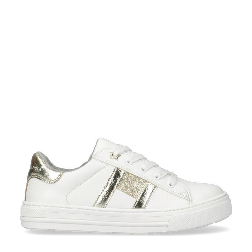 Tommy Hilfiger   sneakers met glitters wit/goud, Wit/goud