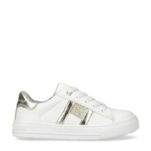 sneakers met glitters wit/goud