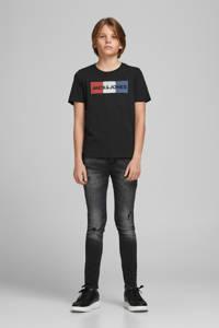 JACK & JONES JUNIOR T-shirt met logo blauw/rood, Zwart