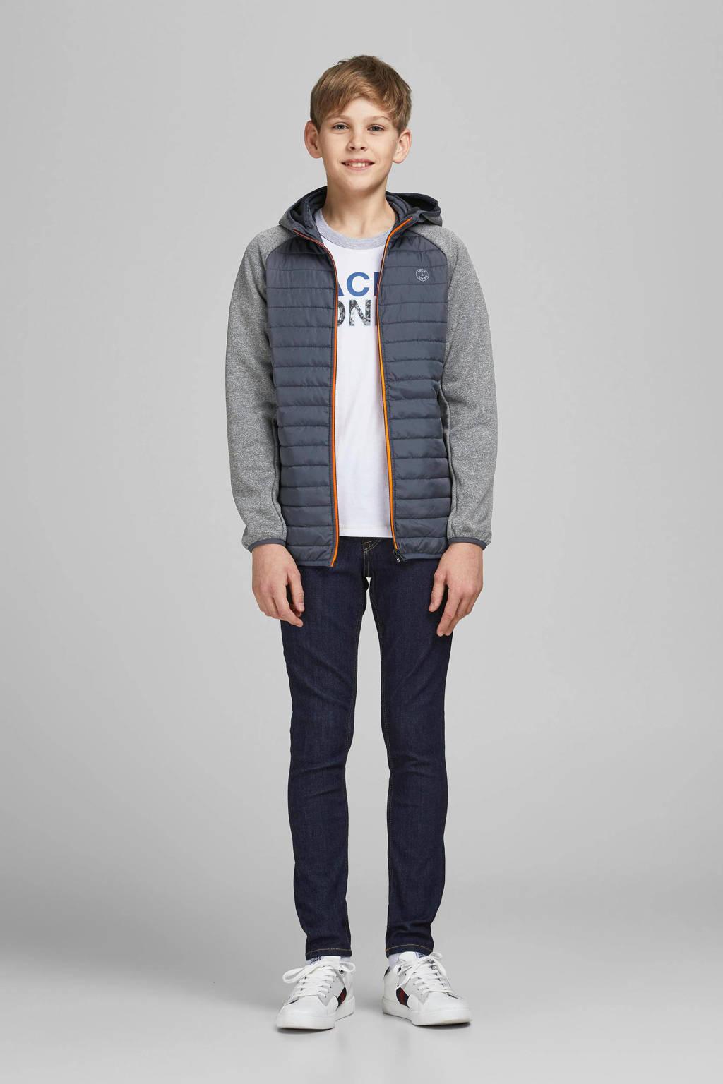JACK & JONES JUNIOR gewatteerde jas Multi grijs melange/donkerblauw/oranje, Grijs melange/donkerblauw/oranje