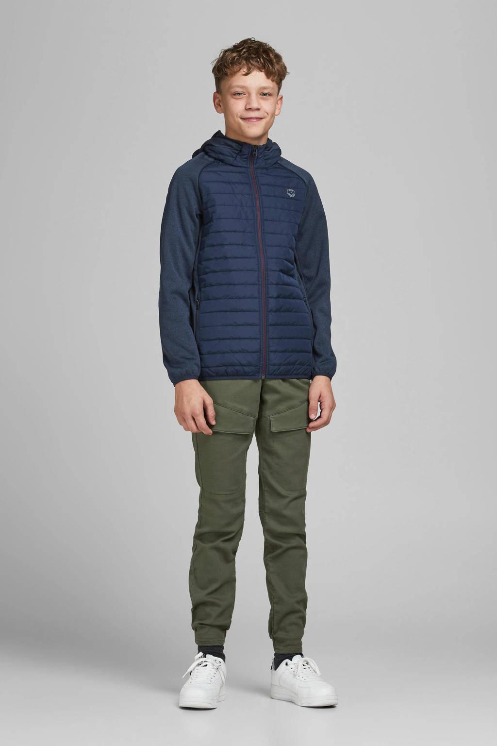 JACK & JONES JUNIOR gewatteerde jas Multi donkerblauw/donkerrood, Donkerblauw/donkerrood