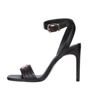 Padded High Heel Sandal  leren sandalettes zwart