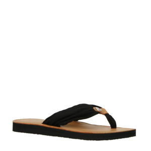 Leather Footbed Beach Sandal  teenslippers donkerblauw