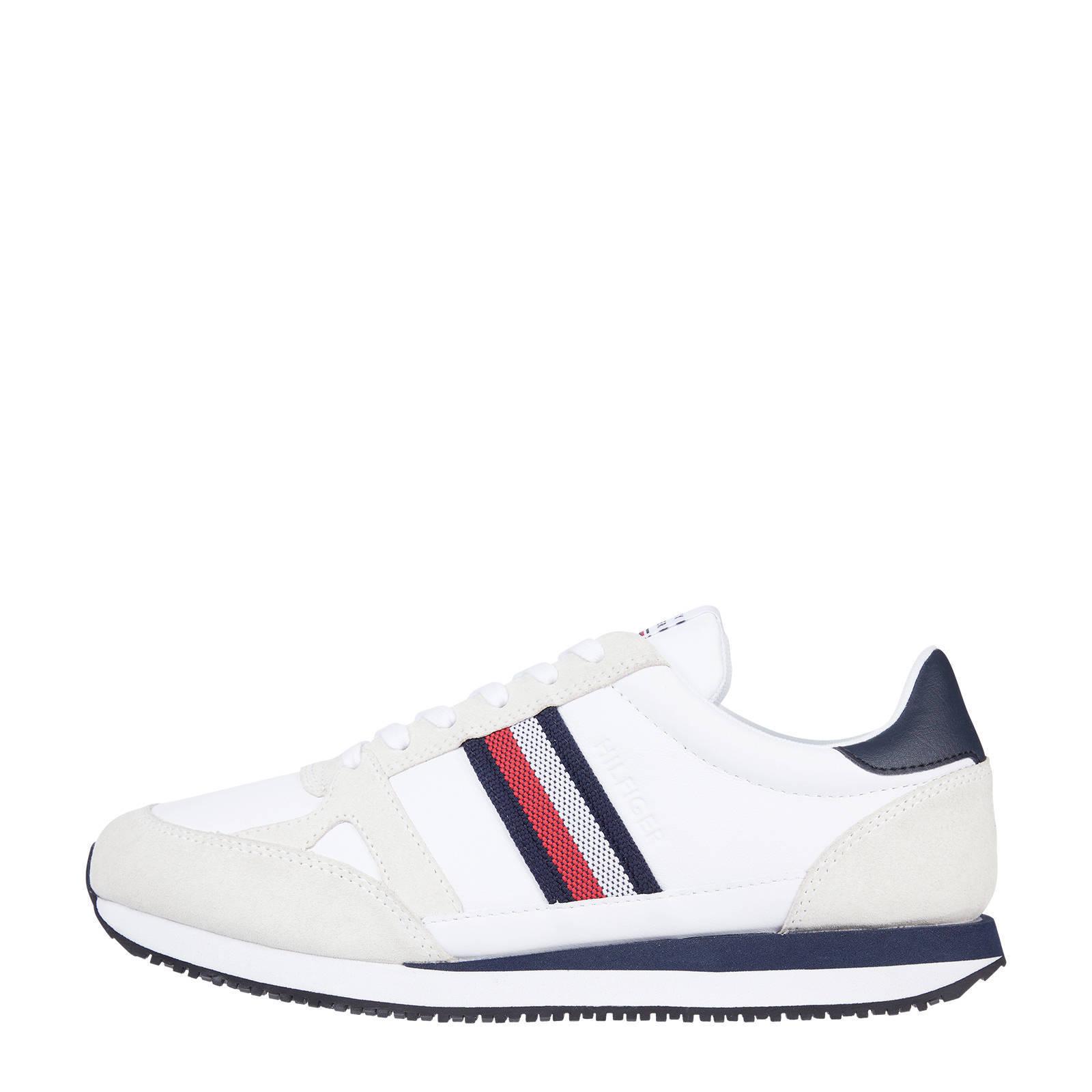 Tommy Hilfiger Runner Lo Leather Stripes leren sneakers donkerblauw online kopen