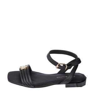 Padded Flat Sandal  leren sandalen zwart